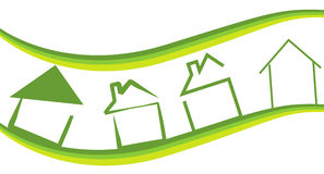 Home. Various type of abstract ecology homes icons isolated background Stock Image