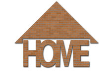 Home. Brick text with white background complete with roof Royalty Free Stock Photography