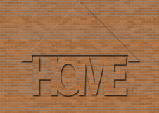 Home. Text over brick background with roof Royalty Free Stock Photos
