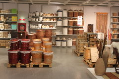 Home accesories interior store. Wicker baskets and boxes in KIKA store Royalty Free Stock Photo