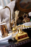 Home accessories. Luxury home decor, golden bird Royalty Free Stock Photo
