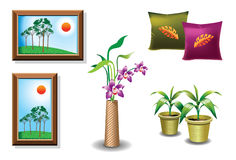 Home Accessories - Decor. A set of home accessories for home decor including house plants, wall frames, designer cushions, and flowerpot with orchids vector illustration