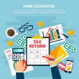 Home Accounting Composition. With money and finance symbols on blue background flat vector illustration Royalty Free Stock Images