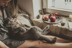 HOME acolhedor Mulher com o gato bonito que senta-se na cama pela janela fotografia de stock