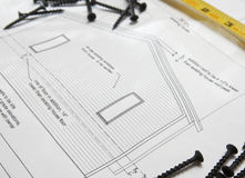 Home Addition Blueprints Royalty Free Stock Photography