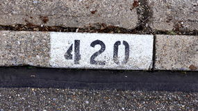 Home address. Curbside Address on the side of the road Royalty Free Stock Photo