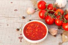 Home Adjika, Cherry Tomatoes, Garlic And Spices Stock Image