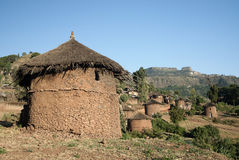 HOME africanas tradicionais no lalibela Etiópia imagens de stock royalty free