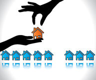 Home agent hand silhouette selling home Royalty Free Stock Images