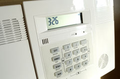 Home alarm panel. Kepad of a home alarm system stock photo