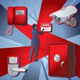 Home alarm, safe and human figure. Vector stock illustration