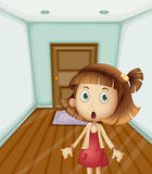 Home alone. Illustration of girl scared at home Royalty Free Stock Images
