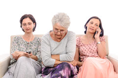 Home alone unhappy old woman Stock Image