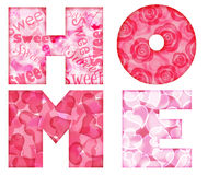 Home Alphabet Letters with Floral and Hearts Stock Image