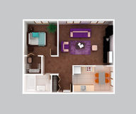 Home apartment floor plan 3d design. Home apartment floor plan design. Hall, living, bedroom , wardrobe, bathroom, dining, nook, kitchen with furniture top view Royalty Free Stock Photos