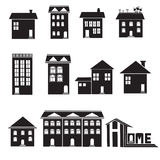 Home and apartment icons set Stock Photos