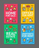 Home, Apartment and Office Flyer Banner Posters Card Set. Vector Stock Photos