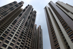 Home Apartments. A photo taken on 2 high rise blocks of home apartment units stock photos