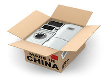 Home appliance in box. Made in China. Royalty Free Stock Images