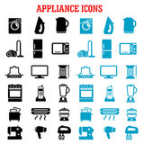 Home appliance and equipment flat icons. Home appliance icons with microwave vacuum iron refrigerator toaster tv set washing and sewing machines blender mixer Royalty Free Stock Photos