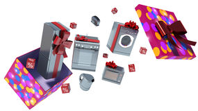 Home appliance in gift box with ribbons and bow.  Stock Photo