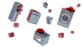 Home appliance in gift box with ribbons and bow Royalty Free Stock Photos
