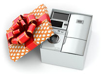 Home appliance in gift box with ribbons and bow Royalty Free Stock Photography