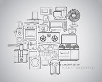 Home Appliance Icons. A vector collection of home appliance icons and line illustrations Stock Photography