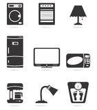 Home appliance icons. Design in black and white Stock Image