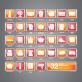 Home Appliance Icons Flat. A set of home appliance icons including kitchen appliances, small domestic appliances, air treatment appliances, house keeping Stock Image