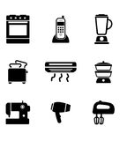 Home appliance icons. Set with on oven, telephone, liquidizer, toaster, heater, steamer, sewing machine, hairdryer and egg beater, black and white vector Royalty Free Stock Image