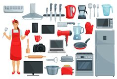 Home appliances, kitchenware, kitchen utencils set. Home appliance and kitchenware vector set. Refrigerator, microwave and coffee machine, vacuum cleaner, oven Royalty Free Stock Image
