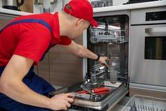 Free Home Appliance Maintenance - Repairman Repairing Dishwasher In Kitchen Royalty Free Stock Photography - 140772727