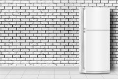 Home appliance - Refrigerator in front of brick wall. Major appliance - Refrigerator in front on a brick wall background stock photo