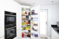 Home Appliance, Refrigerator, Major Appliance, Kitchen stock images
