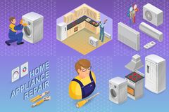 Home appliance repair. Isometric concept. Worker, equipment. Home appliance repair. Isometric repairs concept. Home appliance, repairer and professional tools royalty free illustration