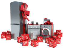 Home appliance with ribbons and discounts Stock Images