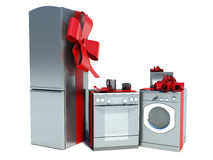 Home appliance with ribbons. On white Stock Photos