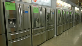 Home appliance selling at Home Deport. Refrigerators selling at store Home Deport Royalty Free Stock Image