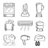 Home appliance sketched icons set Stock Photography
