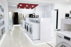 Home appliance in the store. Washing machines, refrigerators and other home related appliance or equipment in the retail store Stock Image