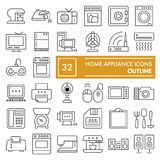 Home appliance thin line icon set, household symbols collection, vector sketches, logo illustrations, electrical. Appliances signs linear pictograms package stock illustration