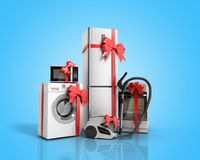Home appliances as a gift Group of white refrigerator washing ma. Chine stove microwave oven vacuum cleaner with red strip on blue background 3d Stock Photography