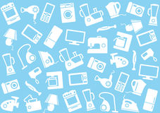 Home appliances a background. The image of symbols of home appliances on a blue background Royalty Free Stock Photo