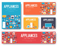Home appliances cards set. Electronics template of flyear, magazines, posters, book cover, banners. Devices infographic Stock Photography