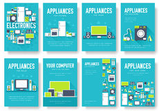 Home appliances cards set. Electronics template of flyear, magazines, posters, book cover, banners. Devices infographic Stock Images