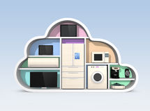 Home appliances in cloud shape for IOT concept Stock Image