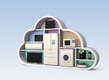 Home appliances in cloud shape for IOT concept Royalty Free Stock Photography