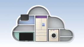 Home appliances in cloud shape for IOT concept stock video footage