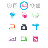 Home appliances, device icons. Electronics sign. Royalty Free Stock Images
